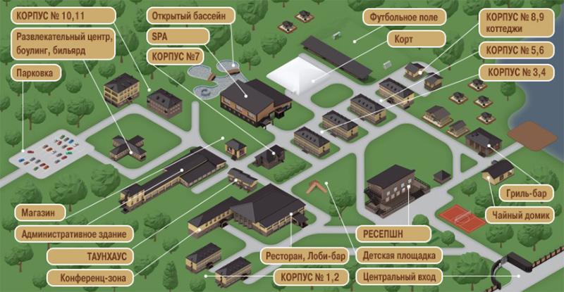 Солнечный Парк Отель & Спа - схема расположения объектов